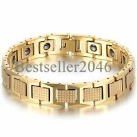 Herren Gold Ton Wolfram Hartmetall Golf Energie magnetische Gesundheit Armband