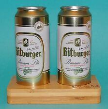 Bitburger Salz und Pfefferstreuer  als Bierdosen auf Bambus-Tablett