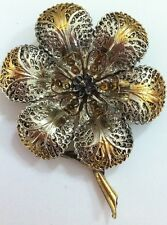 Silver Gold Tone Plate 3 Dimensional Vintage Flower Brooch Pin Signed Art Floral