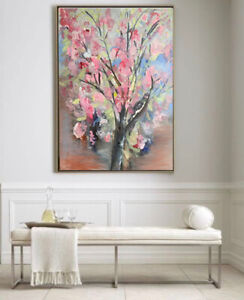 Abstract Pink Blossom Flower Landscape Oil Painting