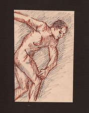 GESTURE NUDE POSE by Ruth Freeman INK LINE  SKETCH MOUNTED ON  MAT BOARD 8 X 10