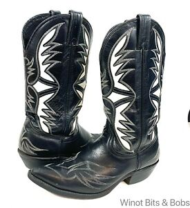 Code West Black White Leather 8M Cowboy Western Snip Toe Boots USA Women's