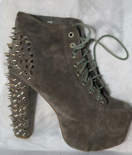 EUC in orig Box Jeffrey Campbell Gray Lita Spike platform boots size 39 dust bag