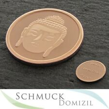 "Quoins Disc/Coin Size M Buddha 'peace comes from within ""Stainless Steel Rotgold"