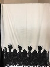 Valentino Scarf Wrap Large Ivory Cashmere Black Lace Trim