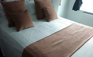 CLEARANCE SAND CARAMEL PLAIN CHENILLE BED RUNNER / CUSHION COVER / FULL CUSHION