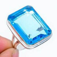 Swiss Blue Topaz Ethnic Gemstone Handmade Gift Jewelry Ring Size 8.5 VS-3540