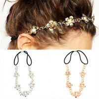 Metal Chain Hollow Rose Flower Elastic Hair Band Headband Women's Jewelry TO