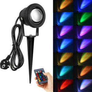 2 x LED RGB Gartenstrahler mit Erdspieß Wasserdicht IP65+16 Farben Fernbedienung