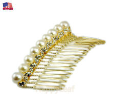 @@14K Gold-plated Faux Pearl CZ Hair Comb clip slide bridal Wedding flower girl