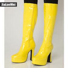Custom-made Womens High Block Heel Platform Cosplay Round Toe Mid Calf Boots New