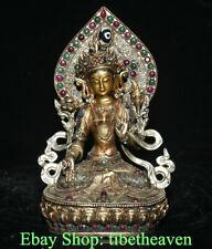 "7.4"" Rare Old Tibetan Silver Filigree Gems Temple White Tara Goddess Sculpture"