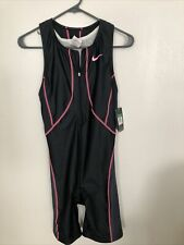 Nike Womens Triathlon Tri Suit Skinsuit Speedsuit Black/Pink Sz L Msrp $157.00