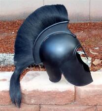 GREEK TROJAN TRO Hoplite Warrior BLACK HELMET with PLUME Plus ARMING CAP New