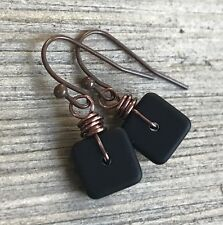 Min Favorit Opaque Black Sea Glass Square & Ant Copper Artisan Earrings Petite