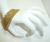 Gorgeous VINTAGE 1970's Gold Tone 1-1/2 Inch Wide Multi Soldered Chain Bracelet