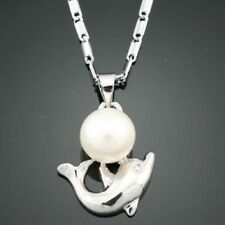 18k GP White 8mm Pearl Pendant with Dolphin with chain ! Gift Jewelry & Lov