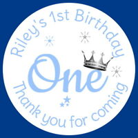 PERSONALISED GLOSSY 1ST BIRTHDAY BLUE BIRTHDAY PARTY STICKERS SWEET CONE LABELS
