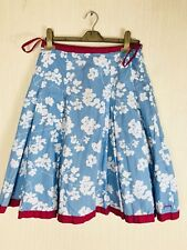 Joules Brighton Floral Pleated Knee Holiday Boho Festival Skirt Size 8 UK