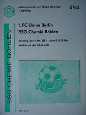 Program Ar Ol 1981/82 Chemistry boehlen - Union Berlin