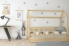 Hausbett Kinderhaus 90x200 Sicherheitsbarrieren Matratzenschublade natur