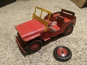 Marx WILLYS JEEP TRUCK Old Toy 1950's Pressed Steel Tin Wheels