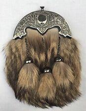 New Full Dress Kilt Sporran Fox Fur Celtic Cantle Antique/Scottish Kilt Sporrans
