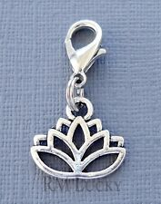 Dangle Lotus Flower Clip On Charm lobster claw Fits Link Chain, locket C224
