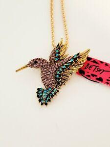 Betsey Johnson Purple Hummingbird Brooch and Pendant Rhinestones Gold Tone