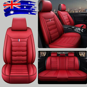 Fly5D 5-Seats Car Seat Covers PU Leather Full Front+Rear Surround Protectors Set