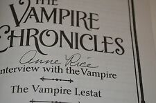 THE VAMPIRE CHRONICLES SIGNED BY ANNE RICE