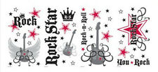 ROCK STAR wall stickers 46 BIG decals Crown Guitar STARS  girls & boy room decor