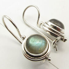 925 Silver Amazing LABRADORITE ARTISAN Earrings 2.4 CM SEMI PRECIOUS GEMSTONE