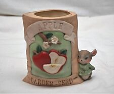Whimsical Style Ceramic Gunny Sack Bag Apple Garden Seed Planter w Cute Mouse