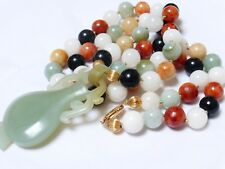 Chinese Vintage 14K Gold Multi Colored Jade Beads Necklace Pendant