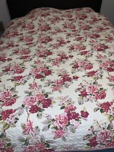 Laura Ashley LIDIA Twin Quilt Pink Rose Cottage Core Floral Reversible