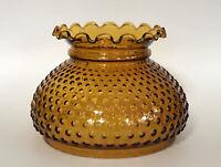 """Vintage GWTW 7"""" Fitter Amber Hobnail Hurricane Kerosene Oil Glass Lamp Shade"""