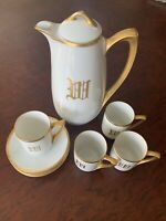 Reinhold Schlegelmilch RS Germany White Gold Pot & Chocolate Cup  Saucer Set