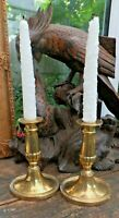 Antique Georgian Brass Candle Sticks Circa 1810 From Devon Manor House