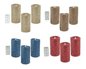 "Luminara 7"" Flameless Candle Pillar Glitter LED Light Real Flame Remote 1 or 3Pc"