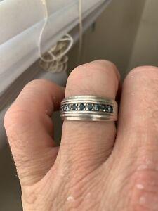 Blue Diamonds In .999 Silver Mens Size 12