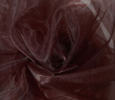 A14 (Per Meter) Dark Brown Crystal Mirror Organza Darpping Sheer Fabric Material