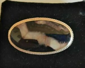 Large Vintage silver and Blue John brooch - 12.7 gms