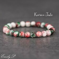 Korean Jade 8mm Natural Semi Precious Gemstone Beaded Stretch Bracelet