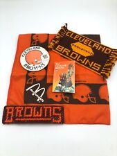 Vintage Cleveland Browns Button, Bandana, Program & Other Memorabilia Lot