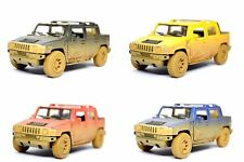 "Set of 4: 5"" Kinsmart 2005 Hummer H2 SUT Muddy Diecast Model Toy SUV Truck 1:40"