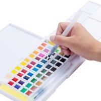 Watercolor Paint Set 48 Colors Field Sketch Case & 2 Water Brush & 2 Sponges New