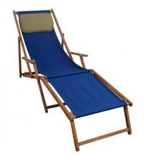 Chaise Longue Terrasse en Bois Lit Soleil Bleu M Partie de Pied et Coussin