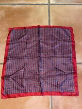 Vintage Christian Dior Silk Square Scarf Red Chain Link 16.5x16
