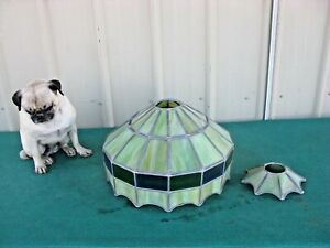 Tiffany Style Stained Glass Lamp Shade Handcrafted Shade Only Green Tones